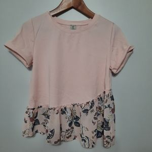 2 for $25 Tristan Pink Tee with Asymmetrical Hem